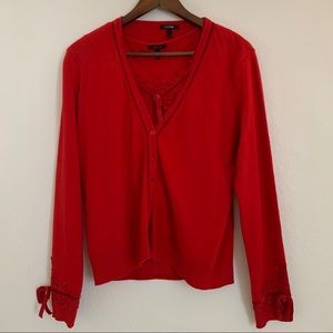 Red cashmere cardigan and blouse
